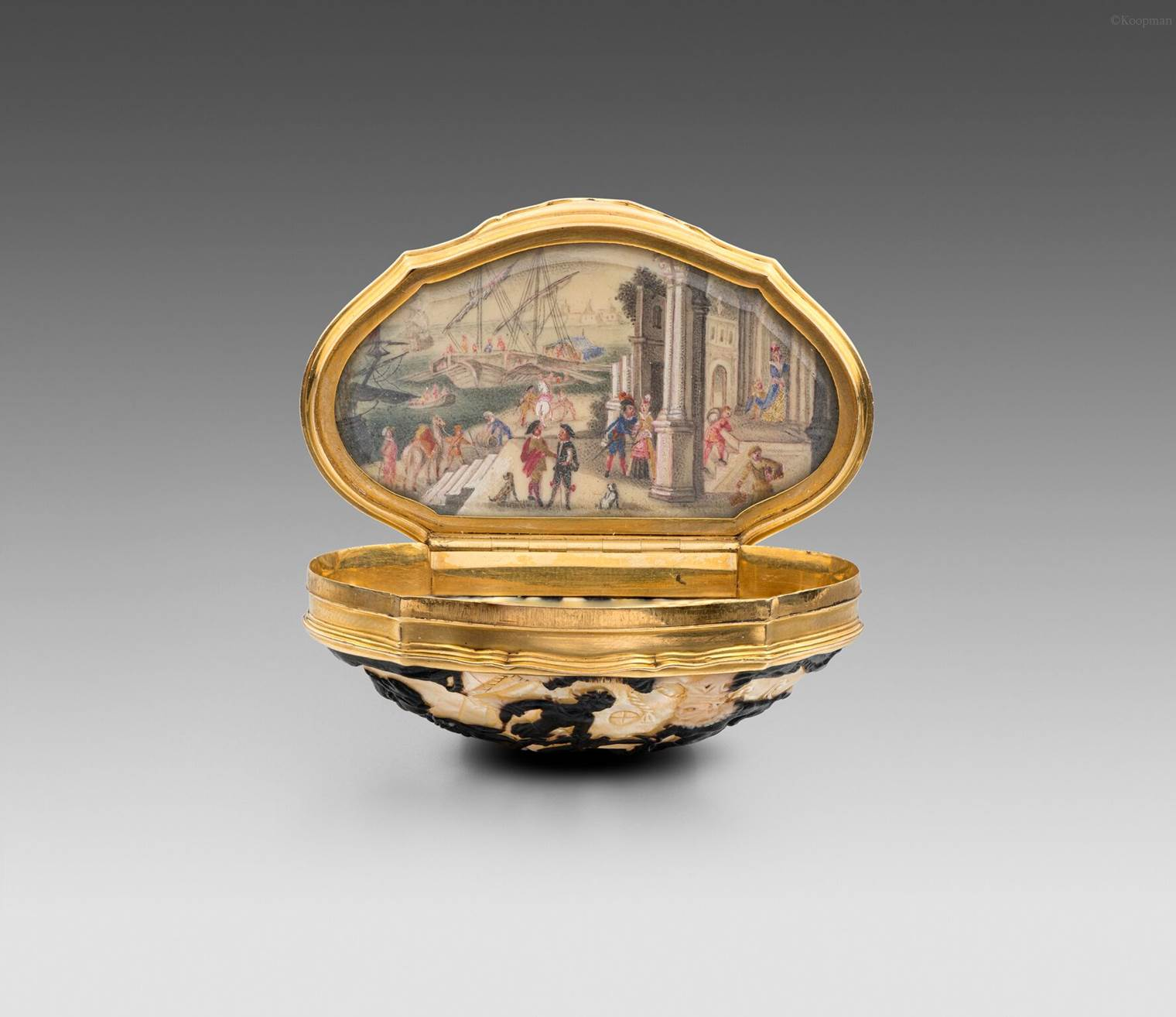 A Gold-Mounted Carved Shell Snuff Box