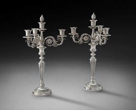 A Magnificent Pair of George III Silver Four-Light Candelabra