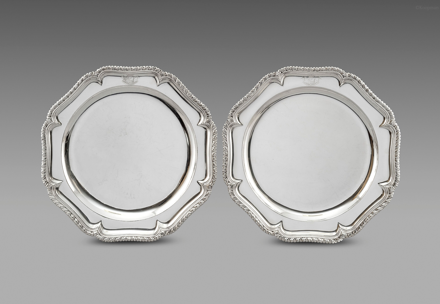 A Pair of George II Silver Second Course Dishes