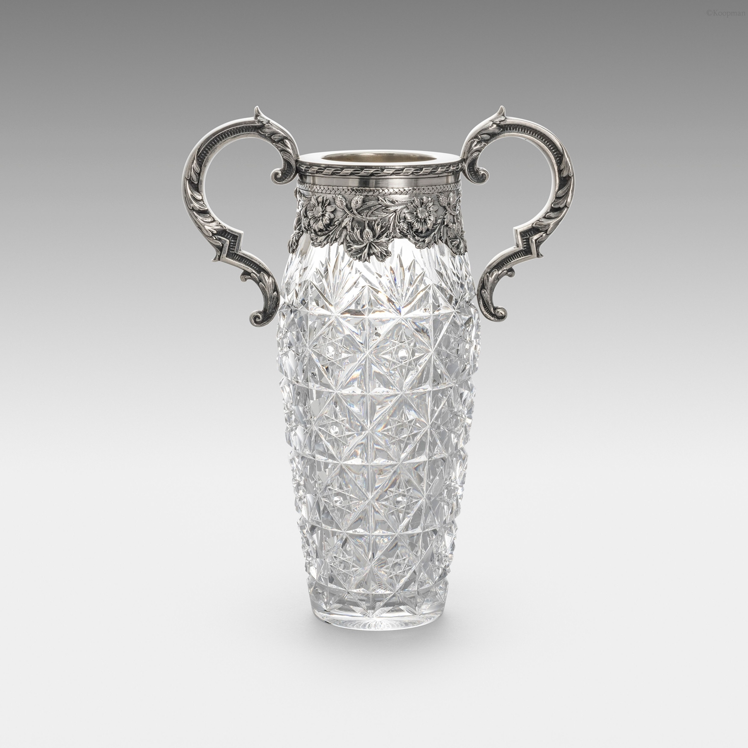 A Russian Silver Mounted Glass Vase