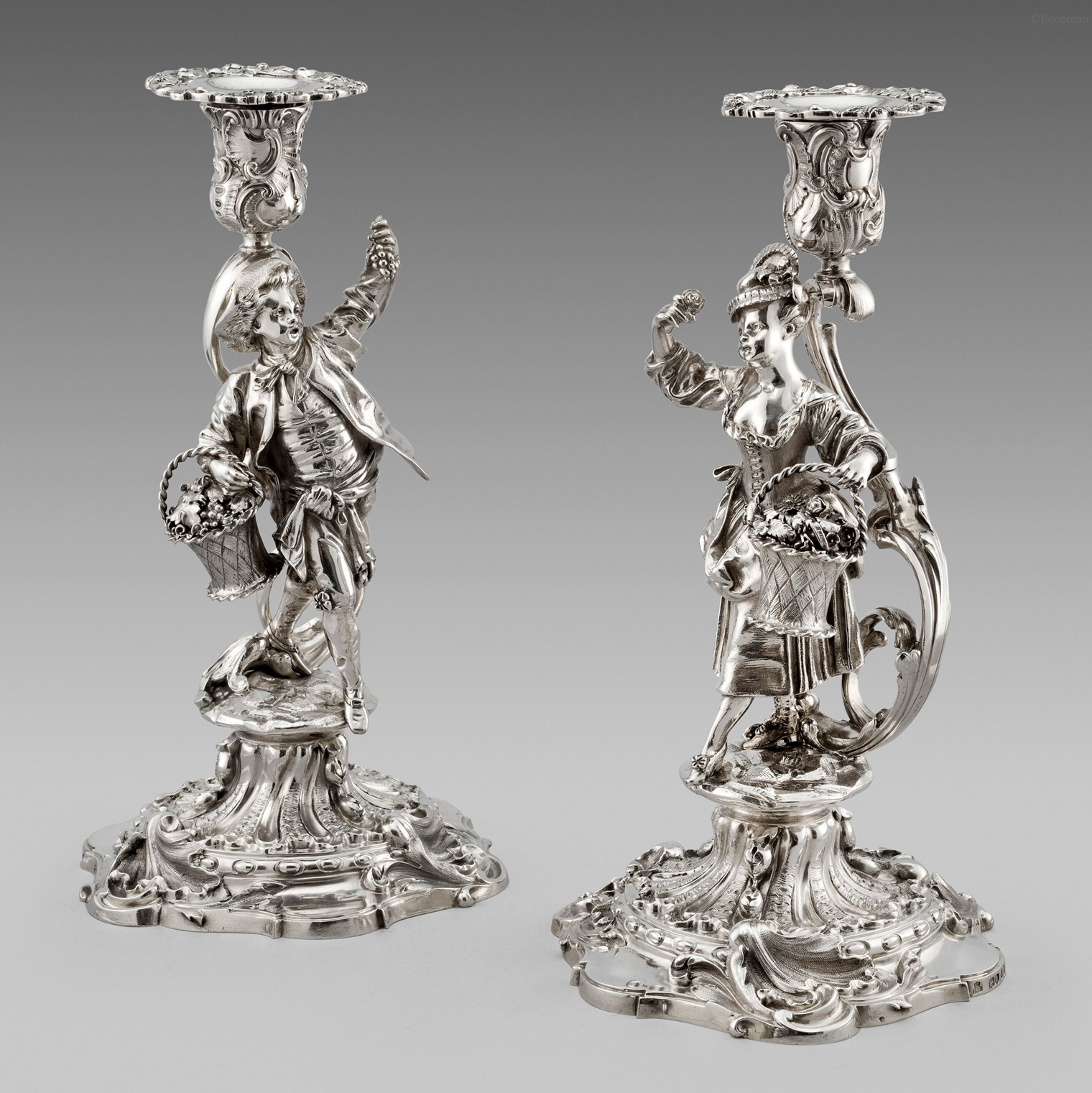 A Pair of Victorian Figural Candlesticks
