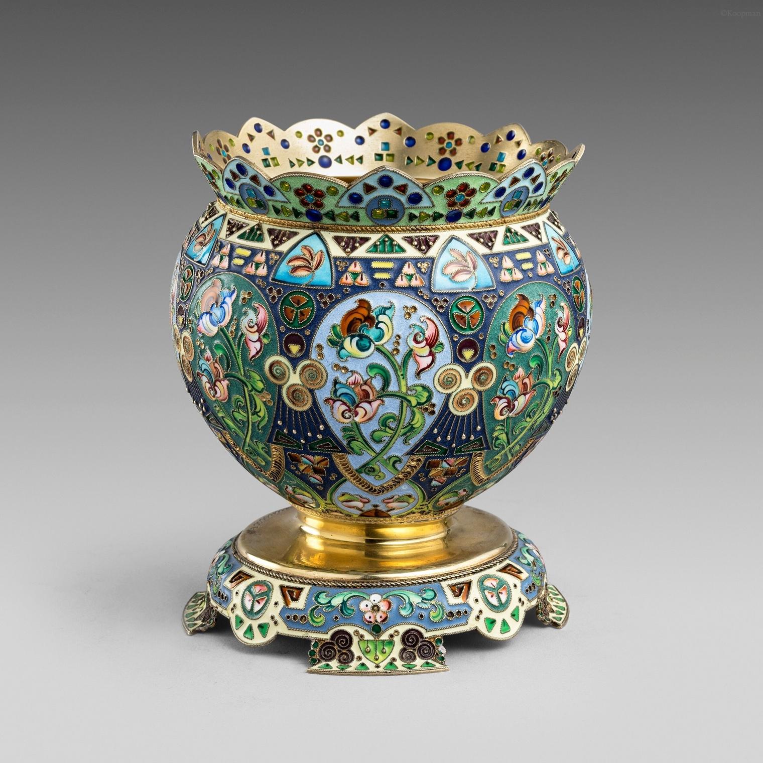 A Russian Cloisonné Enamel & Silver Gilt Bowl