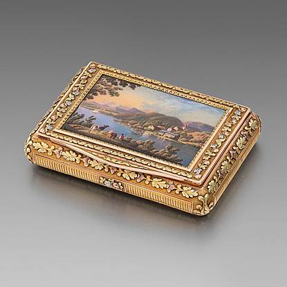 A German Four-Colour Gold and Enamel Snuff Box