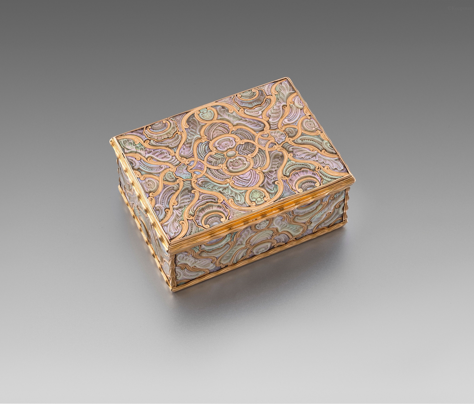 A German Mother of Pearl Inlaid Gold Box