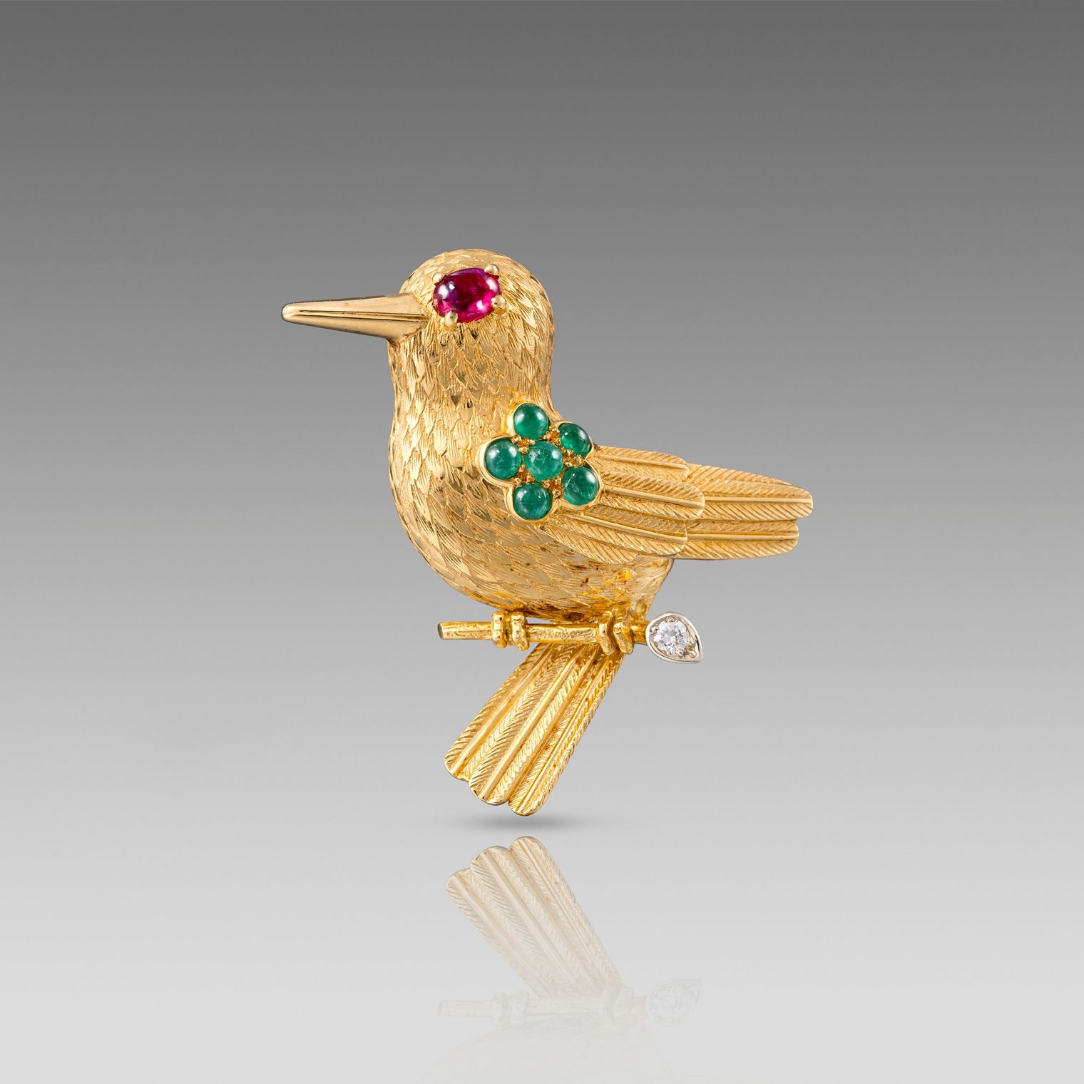Mid 20th century Gold, Ruby and Emerald Bird Brooch by Cartier
