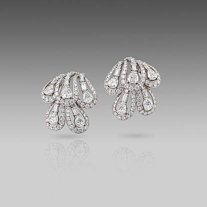 A Pair of Mid 20th century Diamond Earrings by Cartier