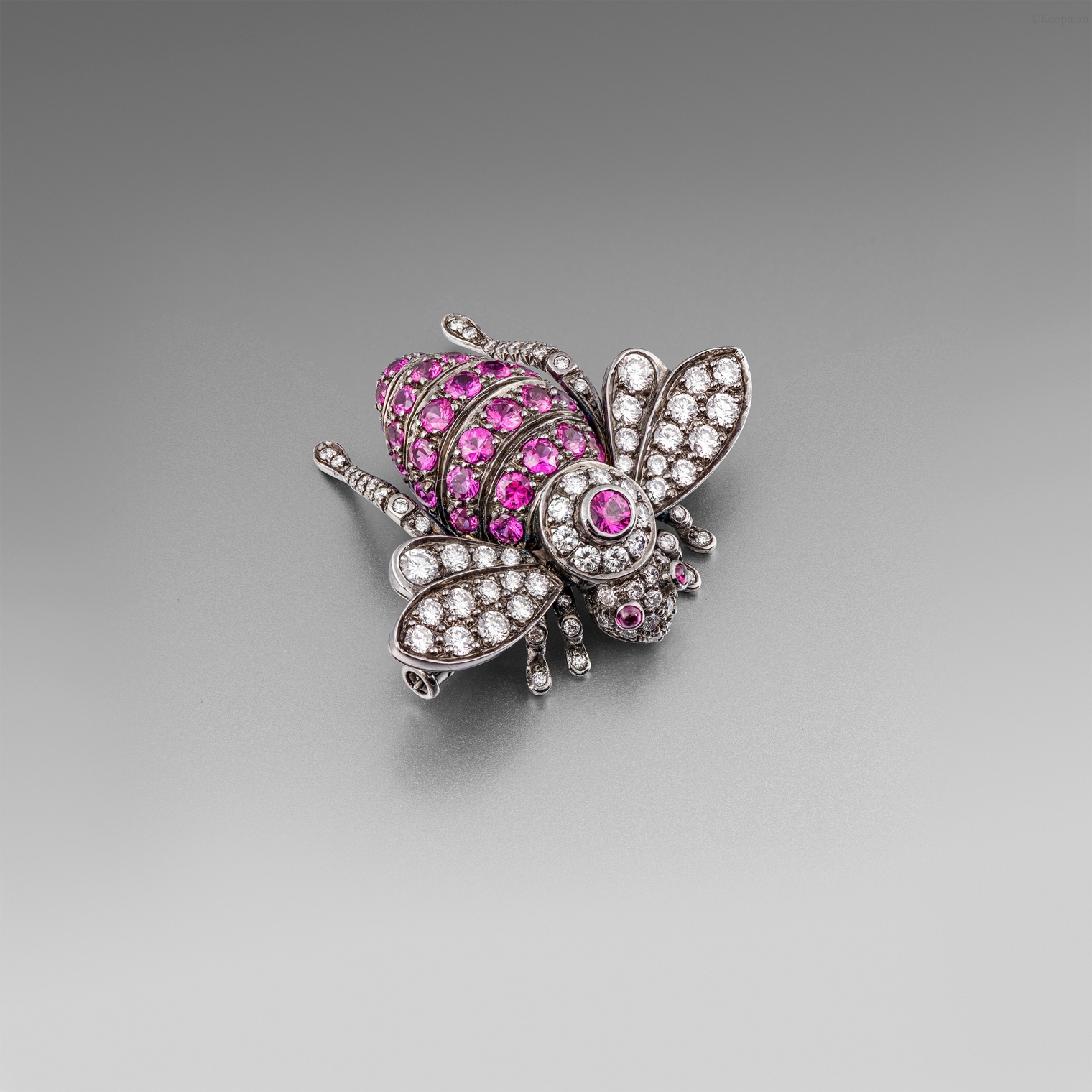 A Ruby and Diamonds Brooch by Sabbadini