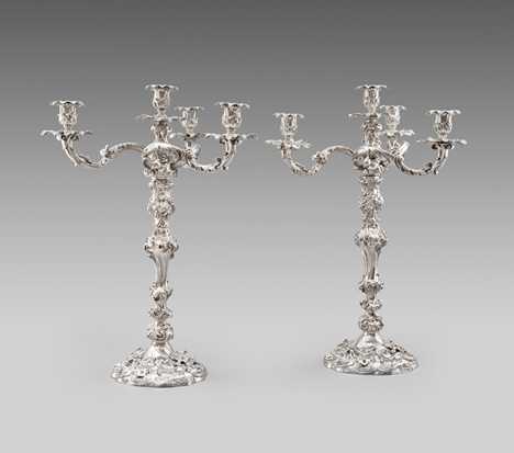 A Pair of Victorian Four-Light Candelabra