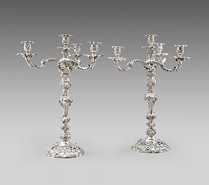 A Pair of Rococo Four-Light Candelabra
