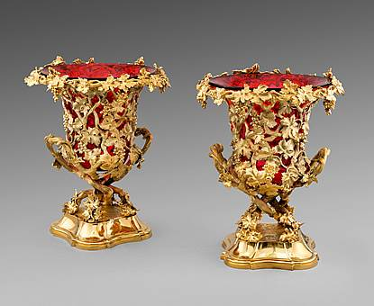 A Pair of Red Glass-Lined Silver-Gilt Wine Coolers