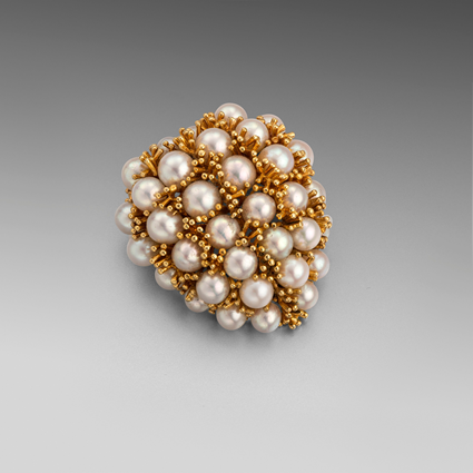 A Gold and Pearl Brooch