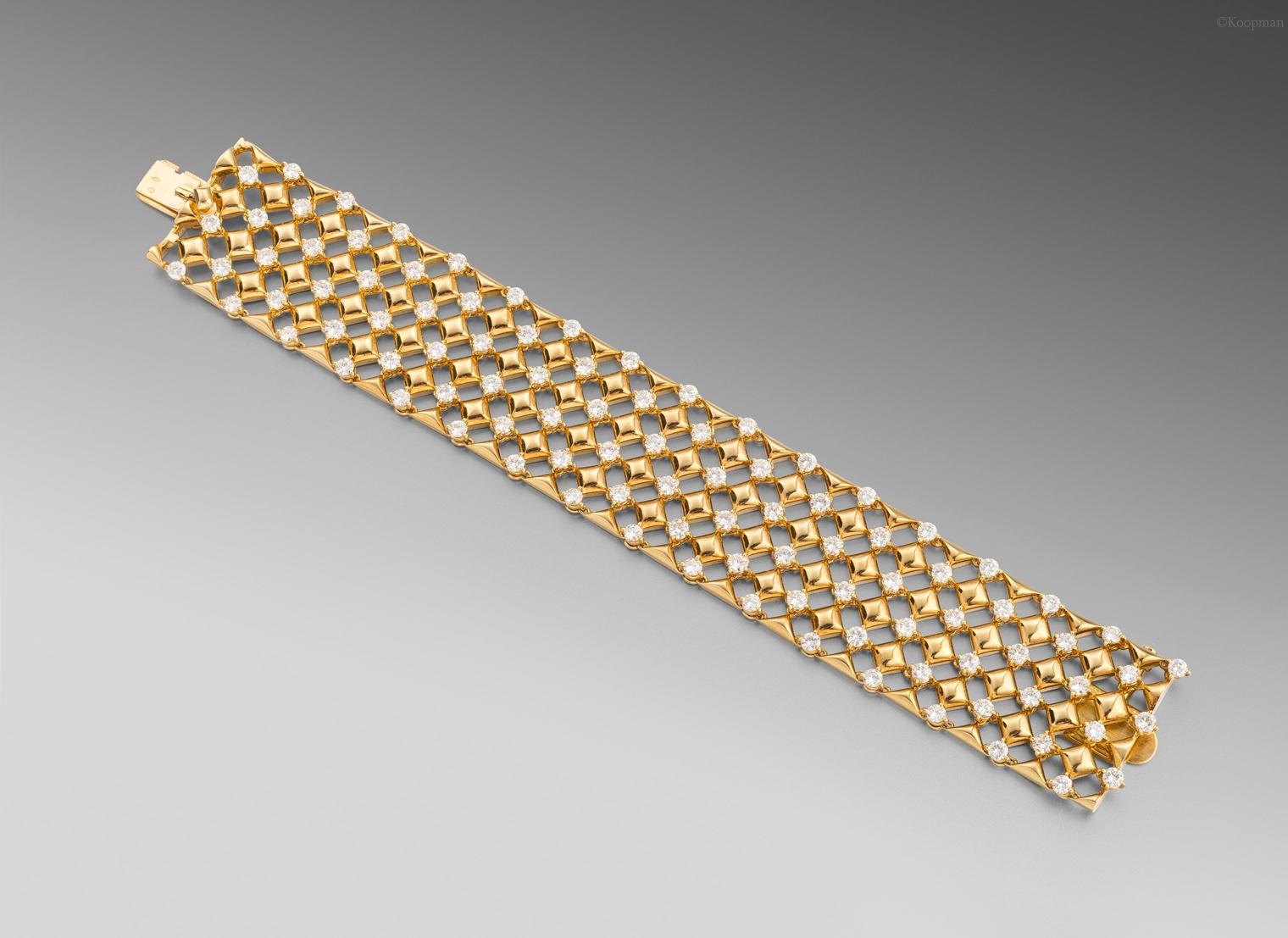 A Mid-Century Gold and Diamond Bracelet