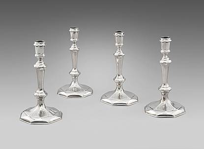 A Set of Four George I Candlesticks