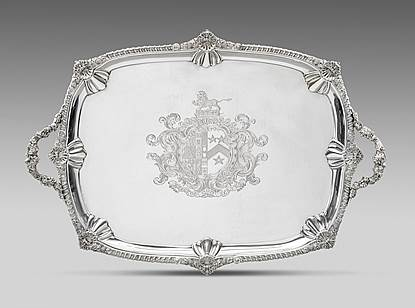 A Gadroon and Grapevine Ornamented Tray