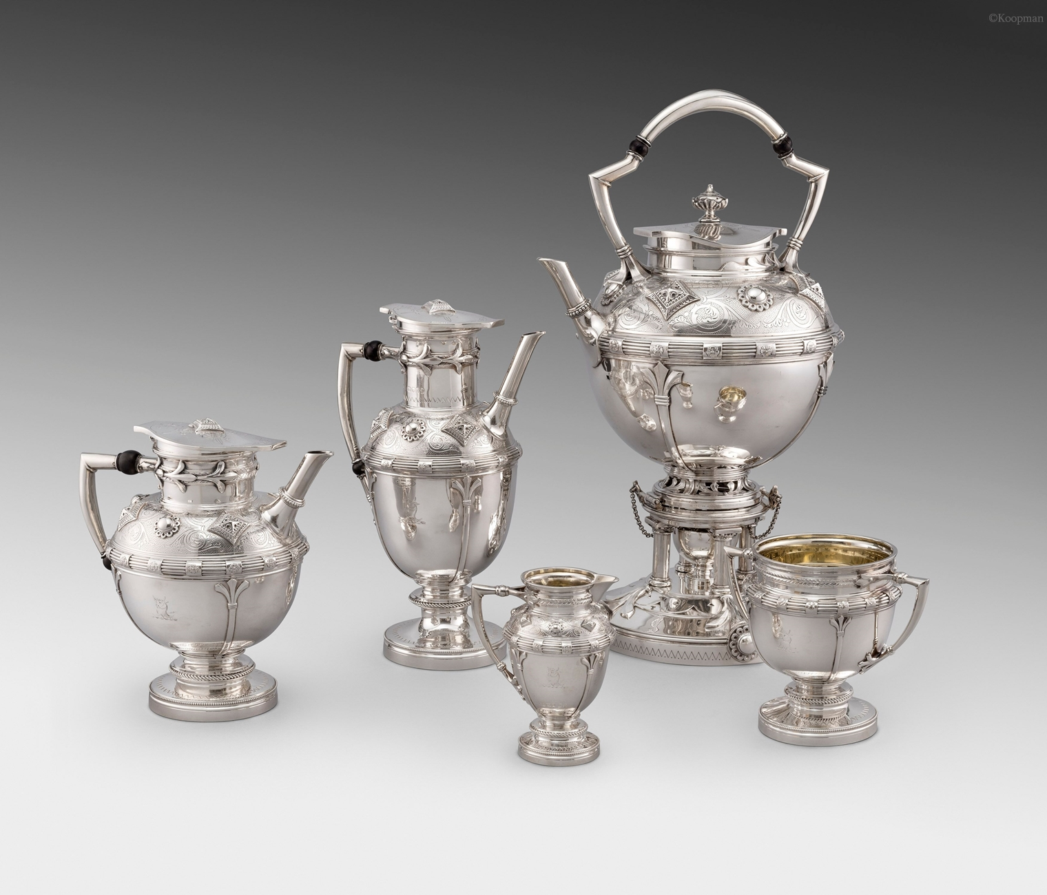 A Victorian Five Piece Tea and Coffee Service