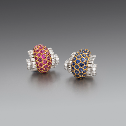 A Pair of Art Deco Diamond, Ruby and Sapphire Earrings