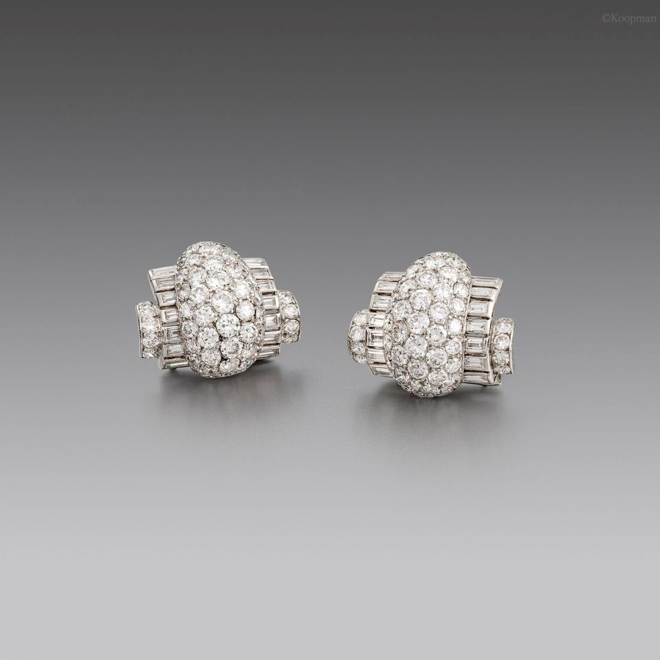 A Pair of Art Deco Diamond Clips