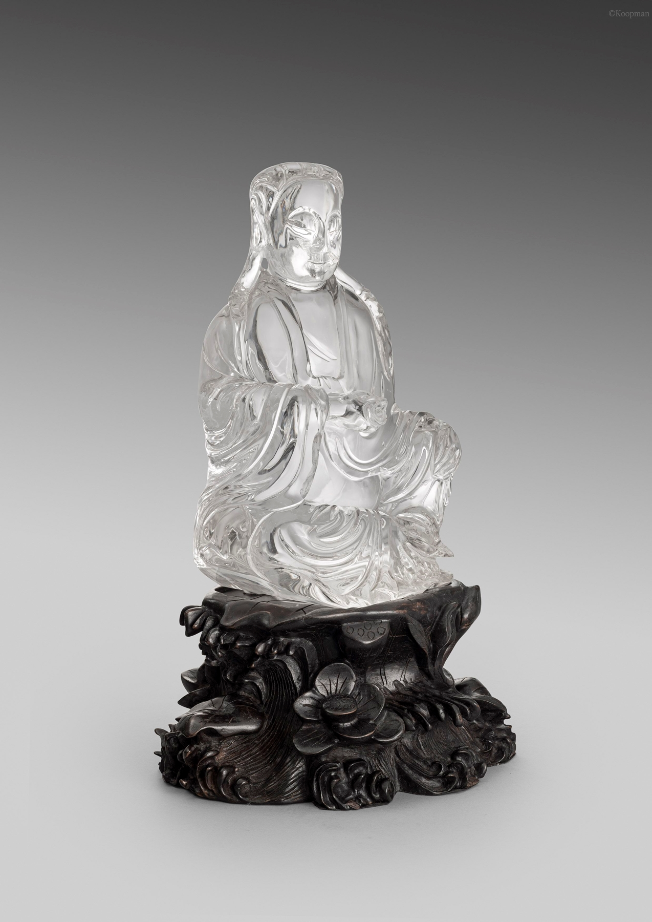 A Chinese 19th Century Rock Crystal Figure of Guanyin, Goddess of Mercy