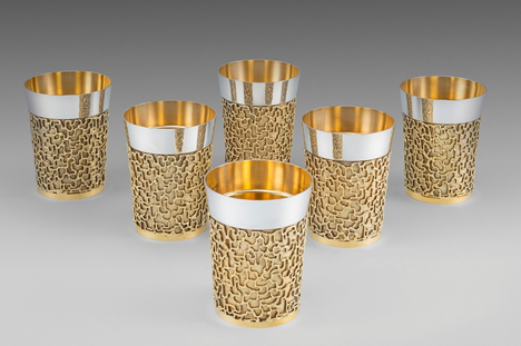 A Set of Six Elizabeth II Parcel-Gilt Beakers