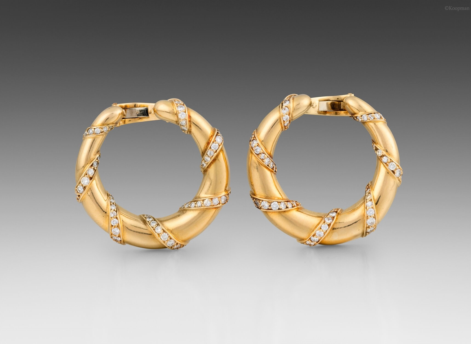 A Pair of French Round Gold & Diamond Earrings