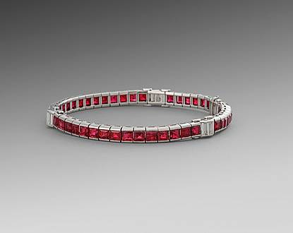An Art Deco Ruby & Diamond Line Bracelet