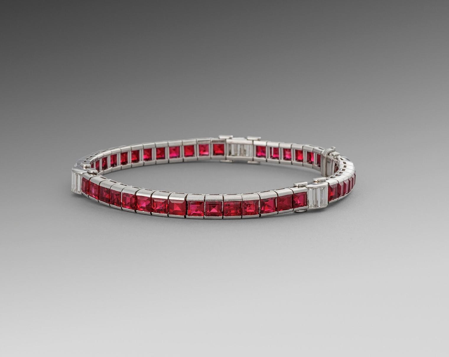 An Art Deco Ruby & Diamond Line Bracelet