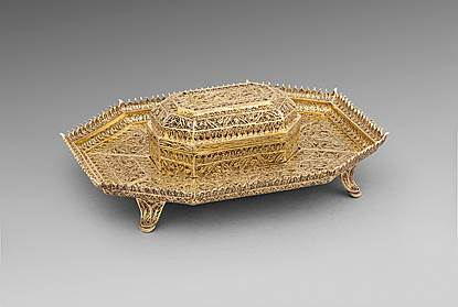 A 19th Century Filigree Casket on Stand