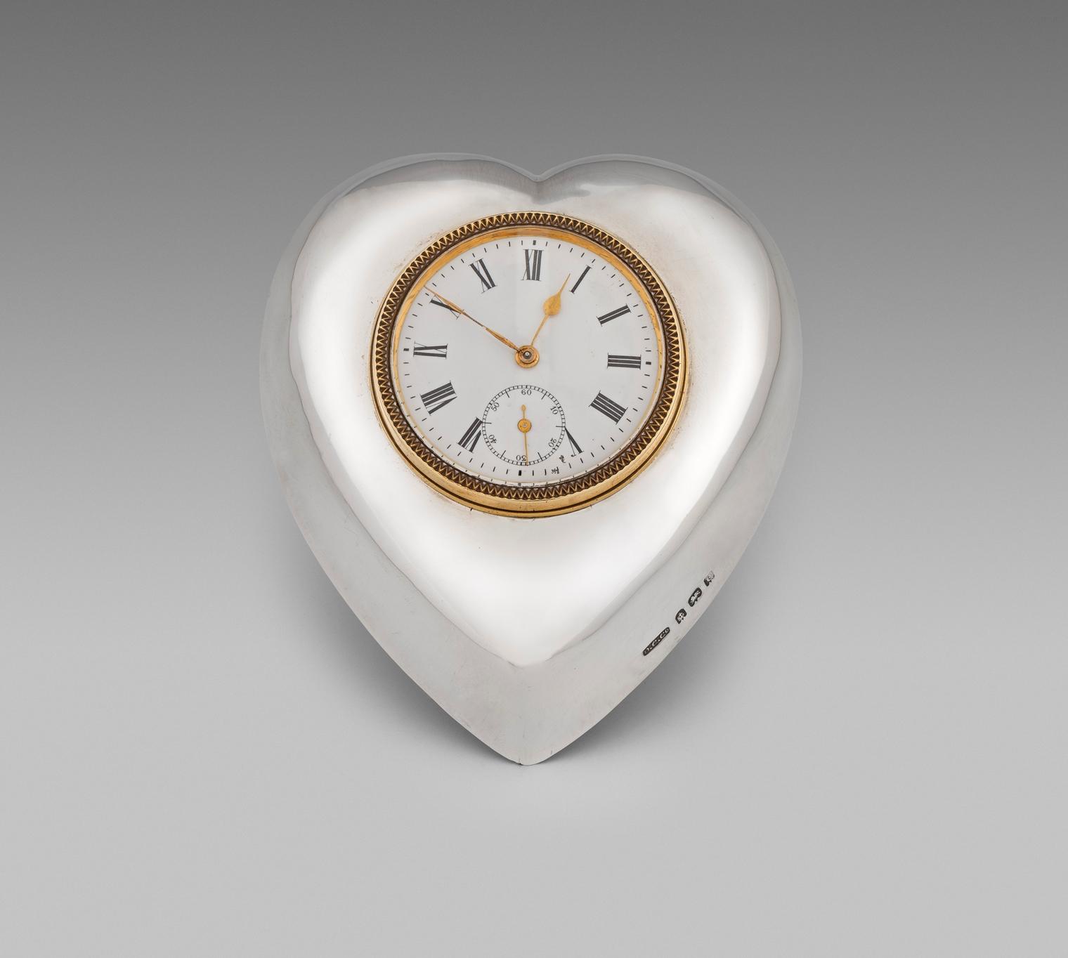 An Edwardian Heart-Shaped Clock
