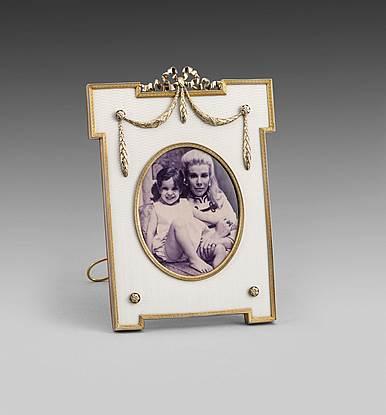 Russian silver-gilt & enamel frame