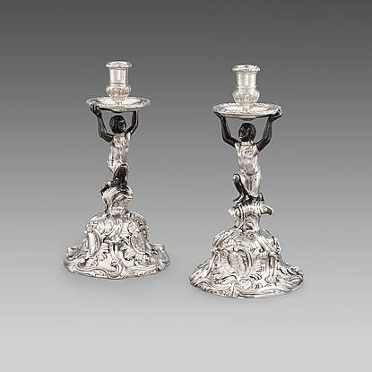 An Exceptionally Rare Pair of George II Rococo Candlesticks