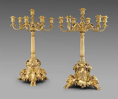 A Pair of Victorian Seven-Light Candelabra