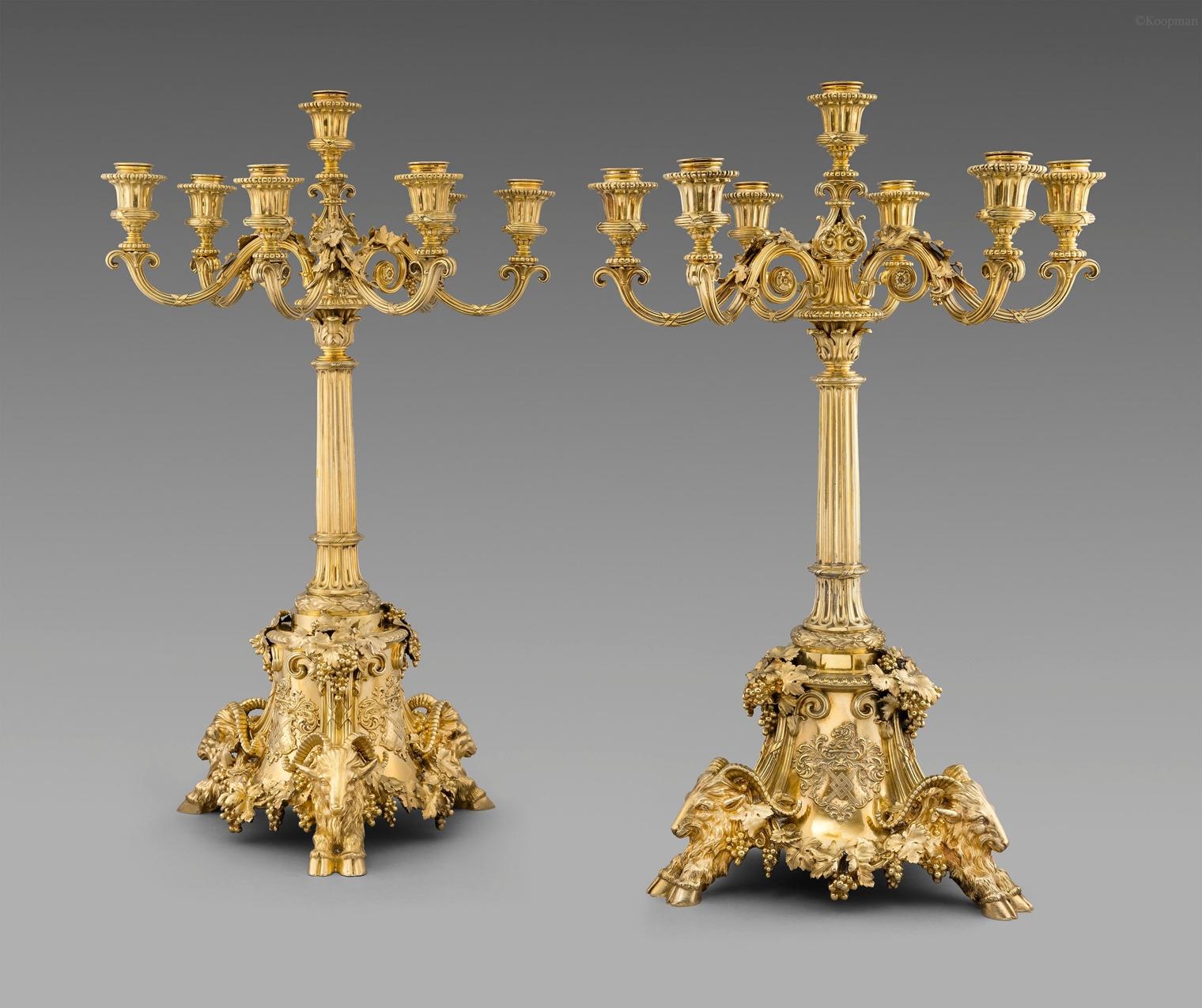 A Pair of Victorian Seven-Light Candelabra