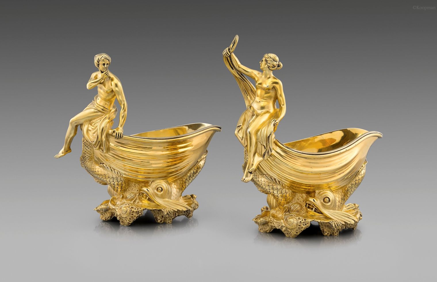 An Exceptional Pair of George IV Marine Sauceboats