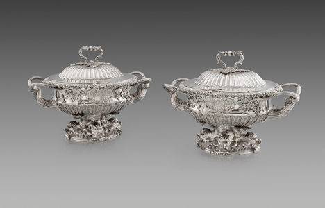 A Pair of George IV Silver Soup Tureens from the Sampaio Service