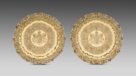 An Exquisite Pair of Silver Gilt Chargers