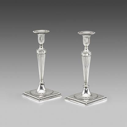 A Pair of 18th Century Neo-Classical Candlesticks