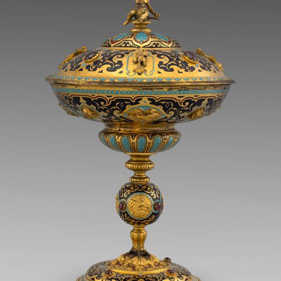 A Gilt-Copper and Enamel Cup & Cover