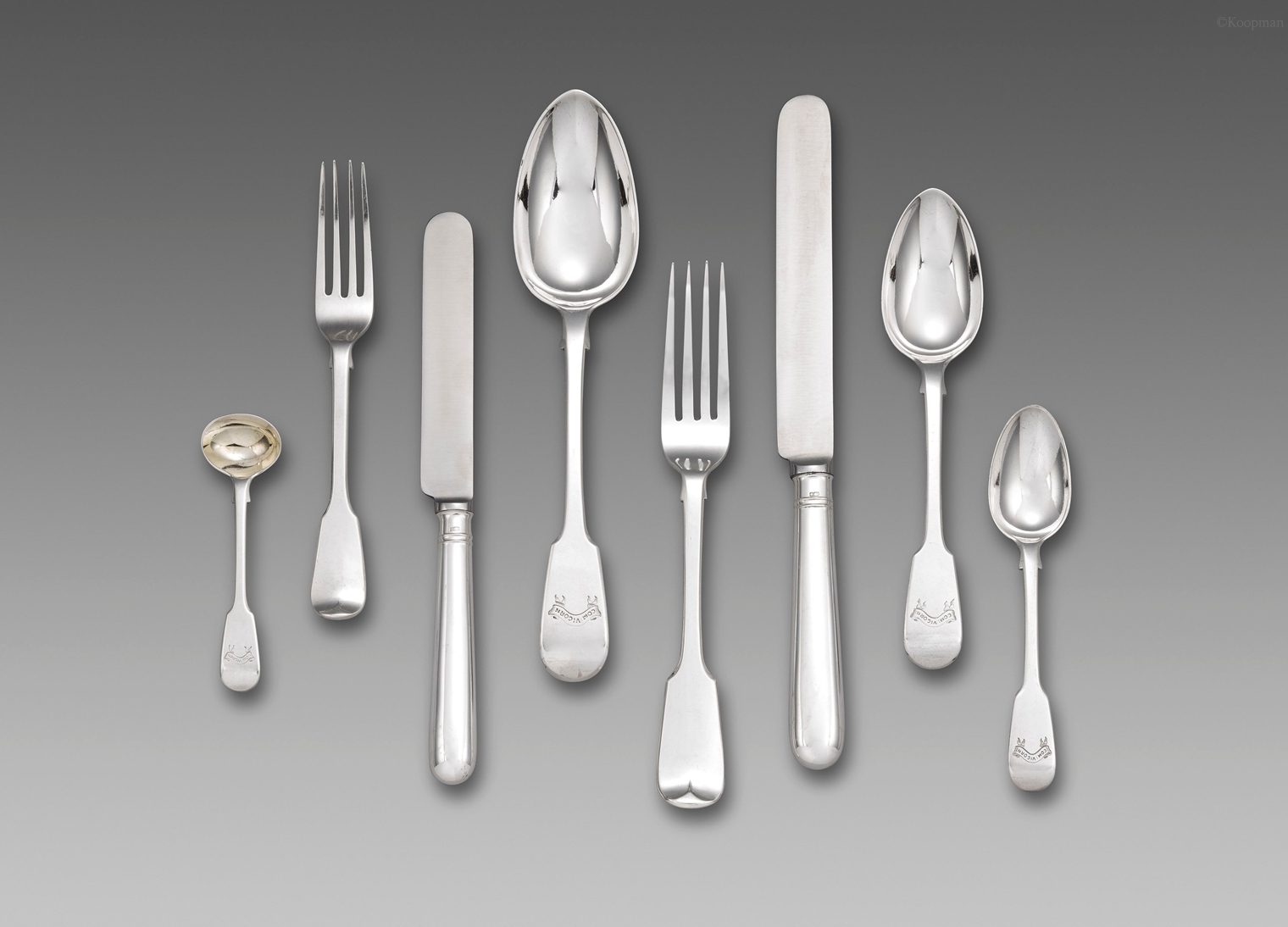 William IV Fiddle Pattern Flatware Service