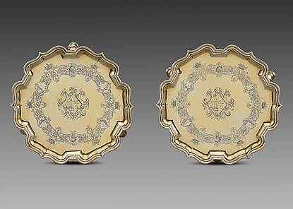An Elegant Pair of George II Silver-Gilt Salvers