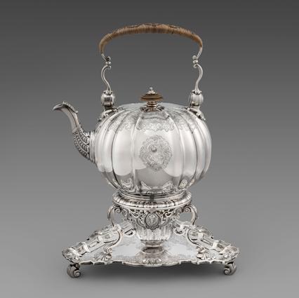 A Rare Tea Kettle on Stand with Original Triangular Salver En Suite