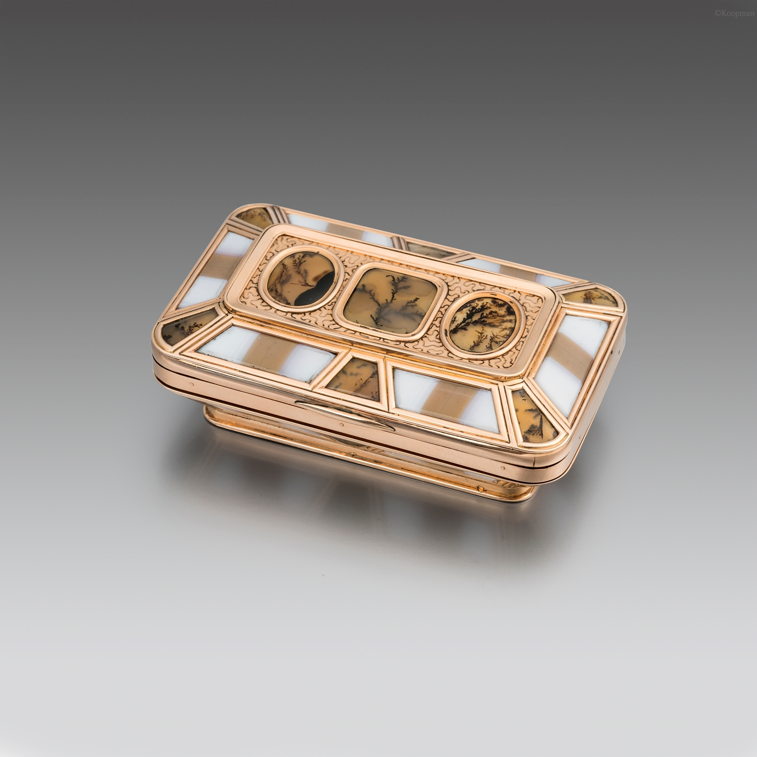 An English 19th Century Gold Mounted Banded and Moss Agate Box