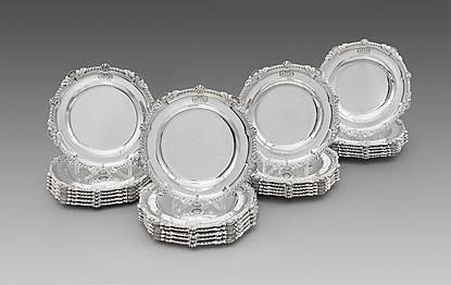 A George IV Set of Twelve Soup Plates and Twelve Dinner Plates