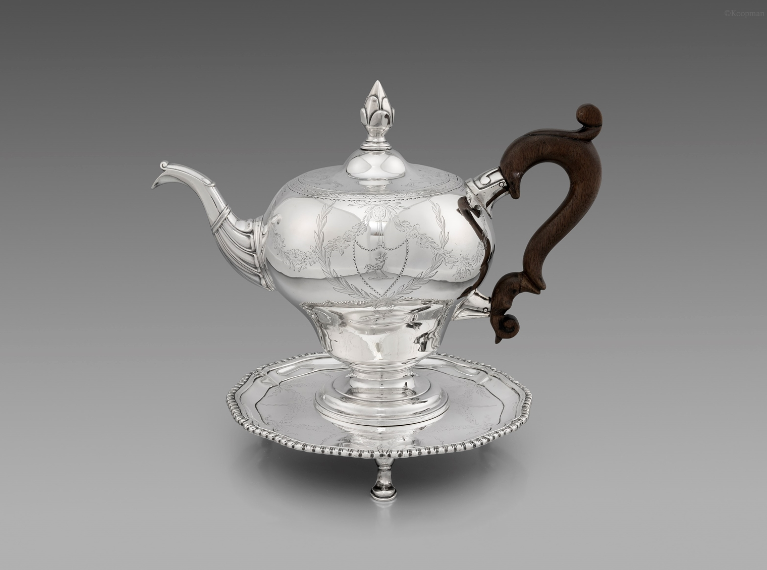 A George III Scottish Teapot on Stand