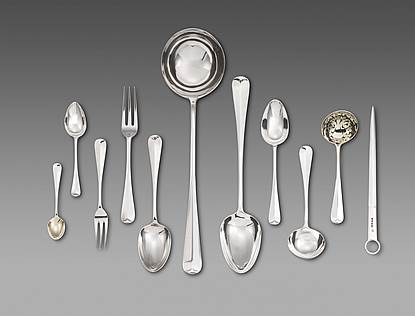 Assembled Victorian Silver Rat Tail Flatware Service