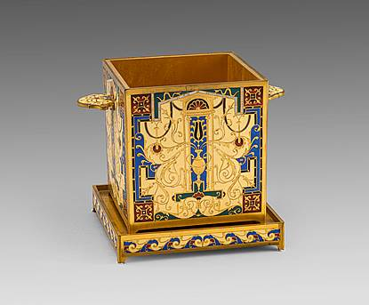 A Gilt Bronze & Enamel Planter on Stand