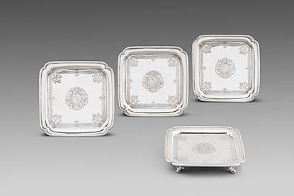 A Set of Four George II Square Salvers