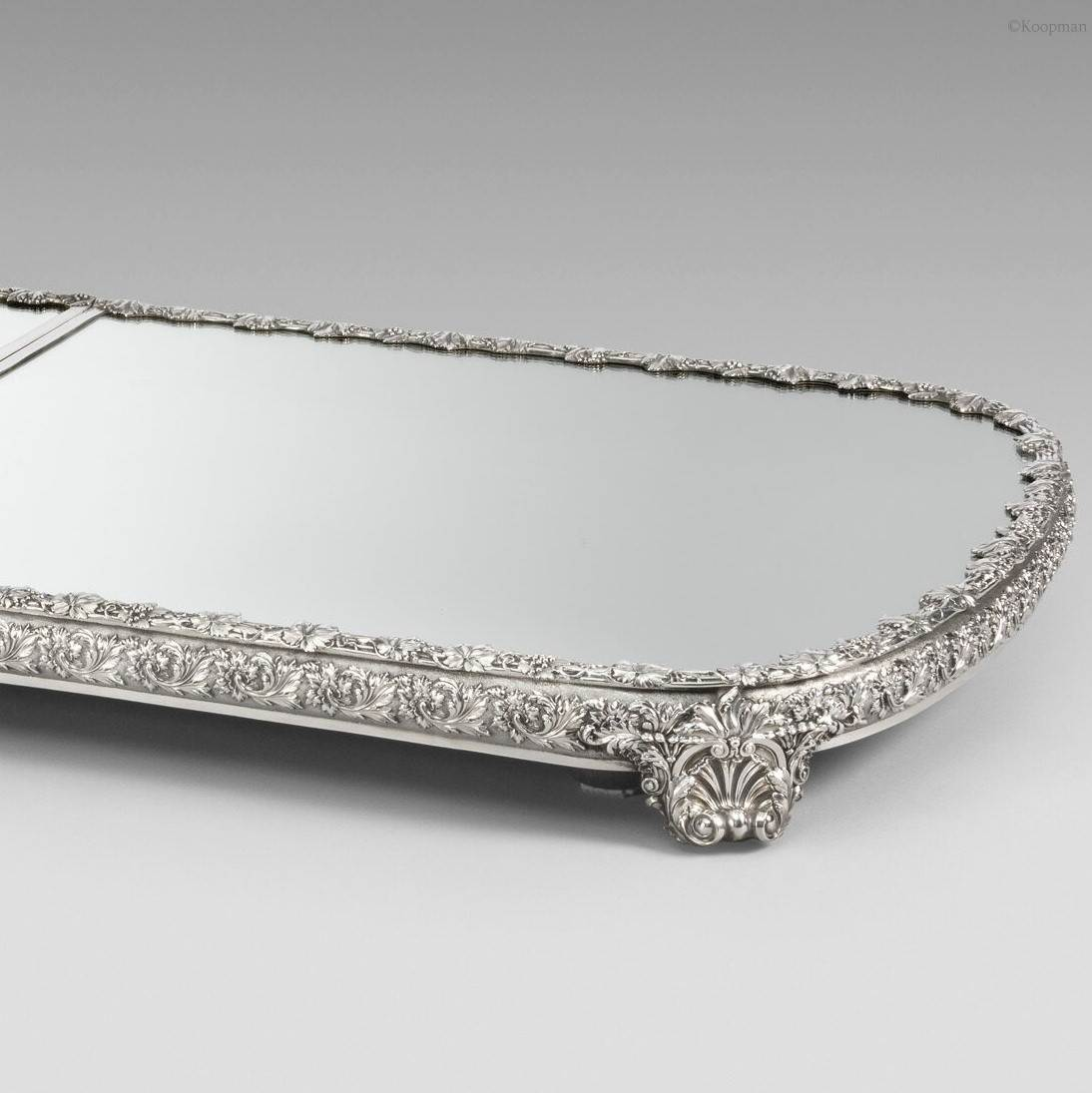 A George III Three-Part Silver-Mounted Mirror Plateau