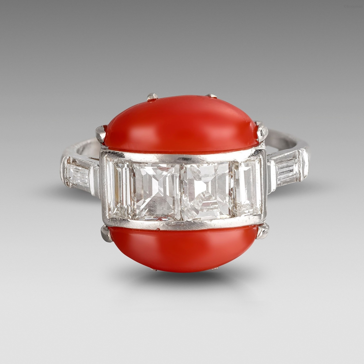 An Art Deco Diamond and Coral Ring