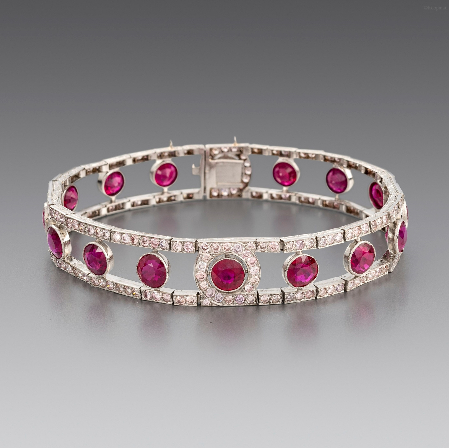 A Burmese Ruby and Diamond Bracelet