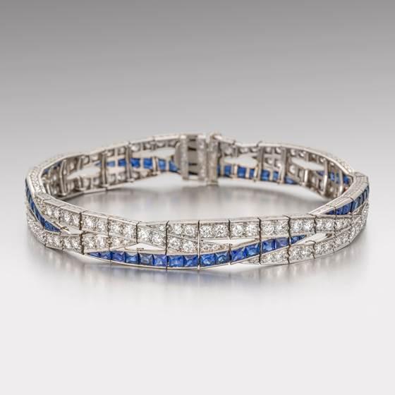 An American Art Deco Sapphire and Diamond Bracelet